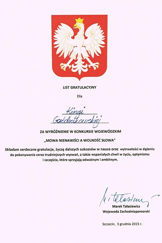 Wyróżnienie Kingi Goździkowskiej