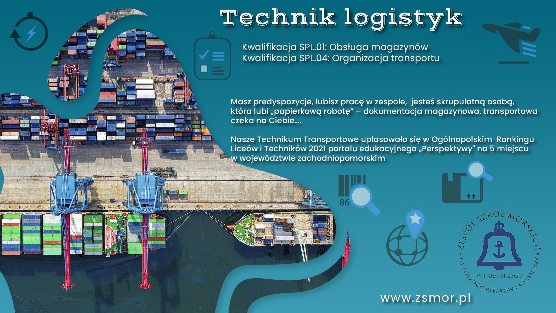 Plakat promujący kierunek logistyczny wZSM